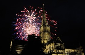 Fireworks with a backdrop of Salisbury Cathedral