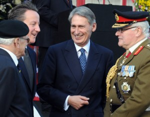 Prime Minister David Cameron, New Defence Secretary Philip Hammond, Sir Peter Wall, Chief of the General Staff