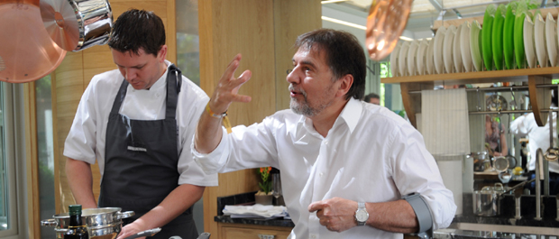 Raymond Blanc in the Smallbone kitchen