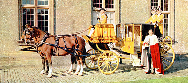 The 6th Marquess of Bath with the state chariot which he used to attend the Queen's Coronation