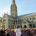 Michael Johnson with the Olympic Torch at Salisbury Cathedral