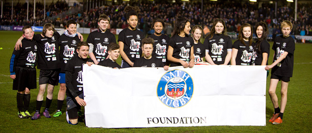 Children at Bath Rugby game as part of project
