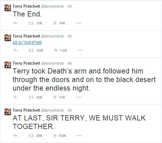 Terry Pratchett   terryandrob    Twitter